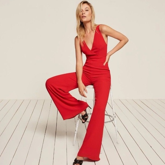 acdd44c1488 Reformation Darcy Cherry Red Jumpsuit Sz 4 New